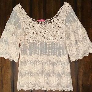 Body Central Tan Floral Mesh Shirt/Blouse